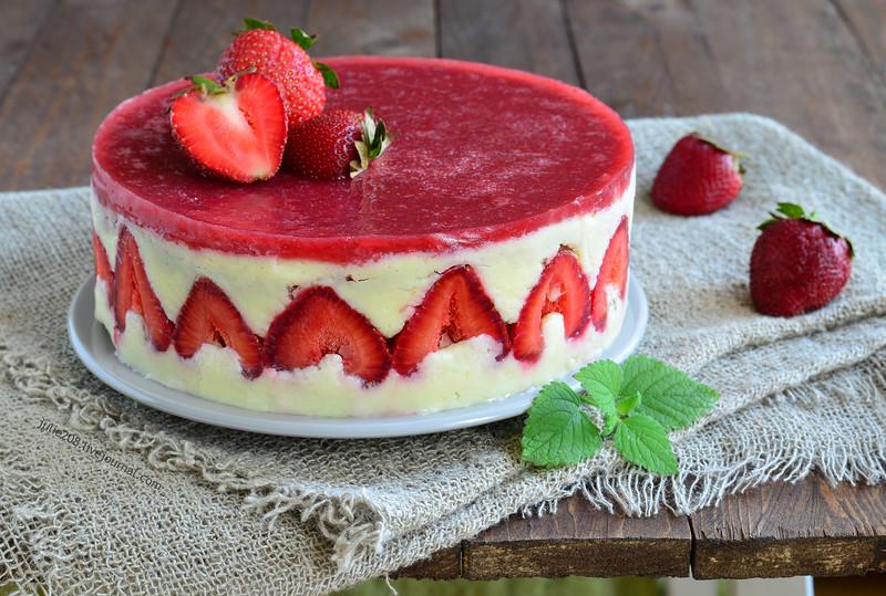 Торт «Фрезье» (Fraisier). Клубничный торт с нежнейшим кремом!