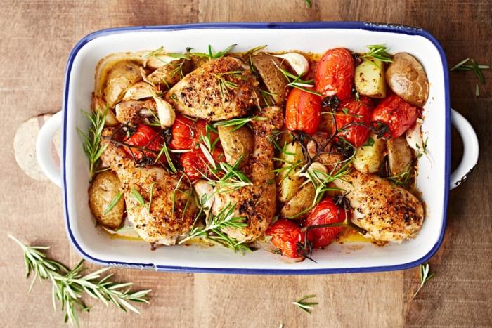 Курица с томатами, картофелем и пряными травами – очень простой рецепт